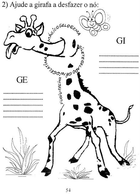 Atividades De Alfabetiza    O   Desfazendo O N   Da Girafa