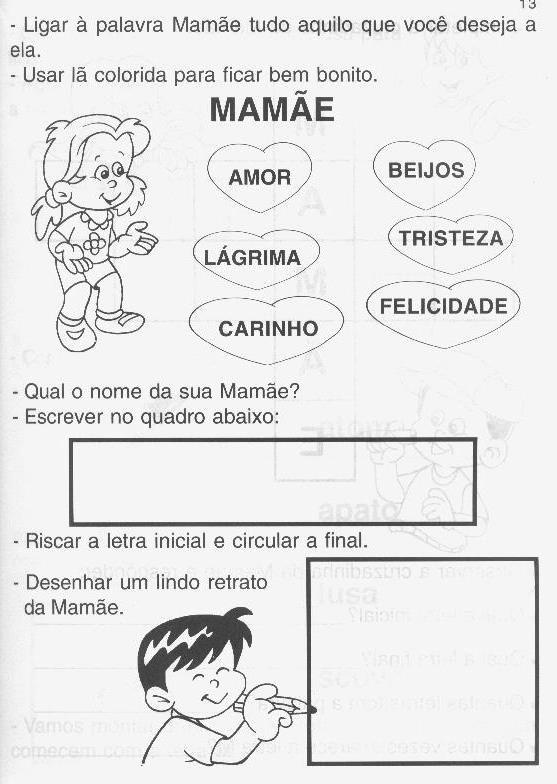 Dia Das Maes Atividades Desenhos Cartoes Recados E Poemas