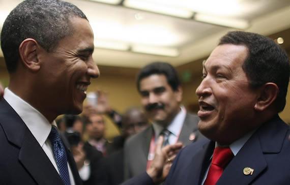 Barack Obama e Hugo Chavez