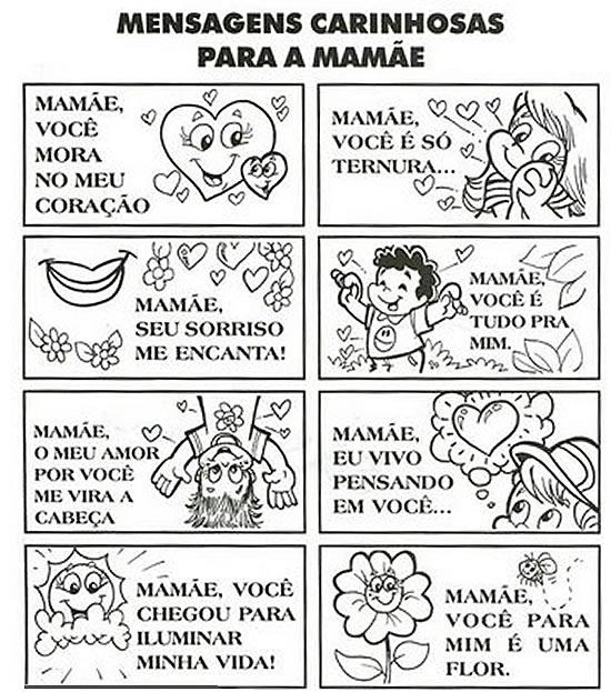 Dia Das Mães Atividades Desenhos Cartões Recados E Poemas