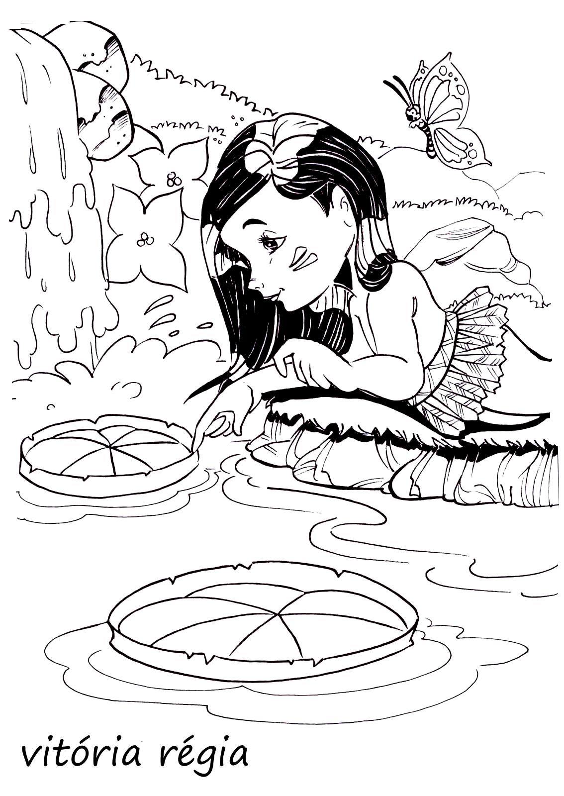 imagens sobre folclore personagens juntos para colorir