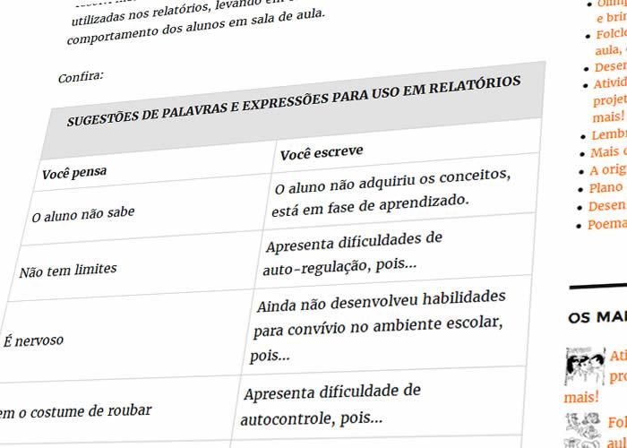 Sugestões De Palavras E Expressões Para Uso Em Relatórios De Alunos