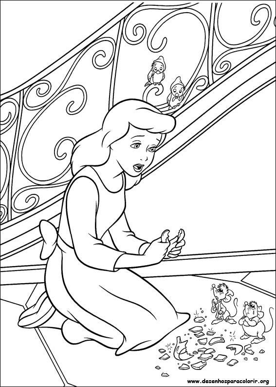 Desenhos Para Imprimir Colorir E Pintar Da Cinderela