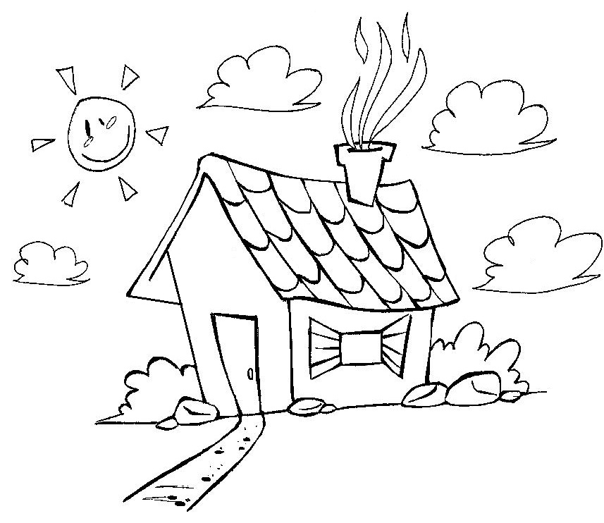 Desenhos para imprimir colorir e pintar de casas - Para pintar casas ...