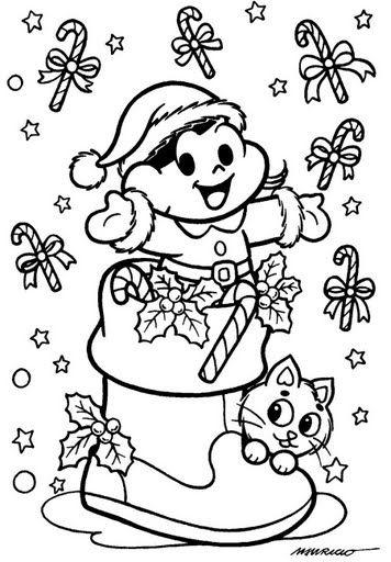 Atividade Desenhos De Natal Da Turma Da Monica Para Colorir