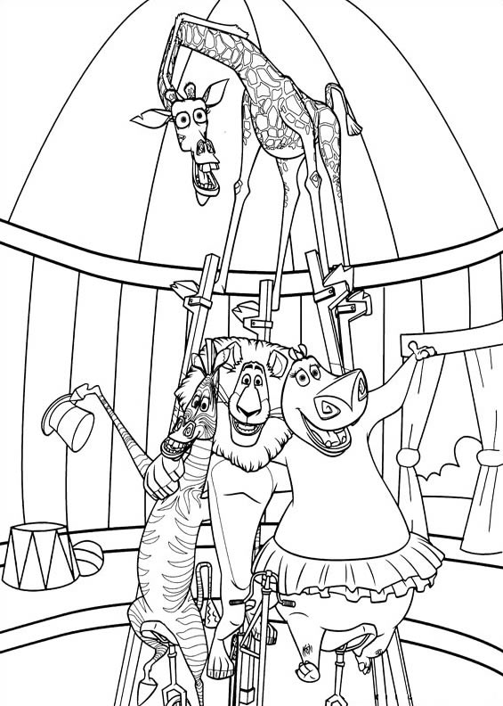 madagascar 3 circus coloring pages | Madagascar Afro Circus Coloring Pages Coloring Pages