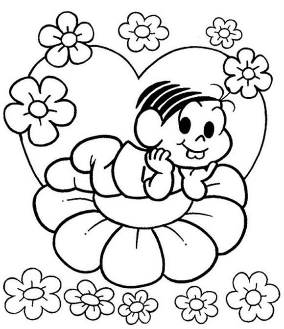 desenhos para imprimir e colorir primavera turma da mônica