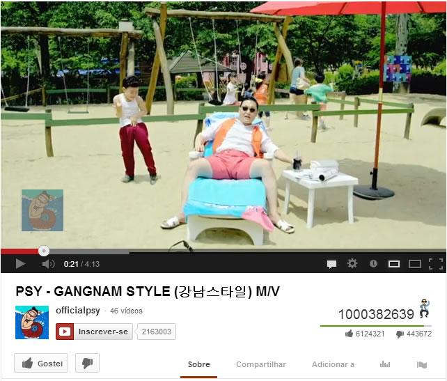 """Gangnam Style"" atinge 1 bilhão de visita no Youtube"
